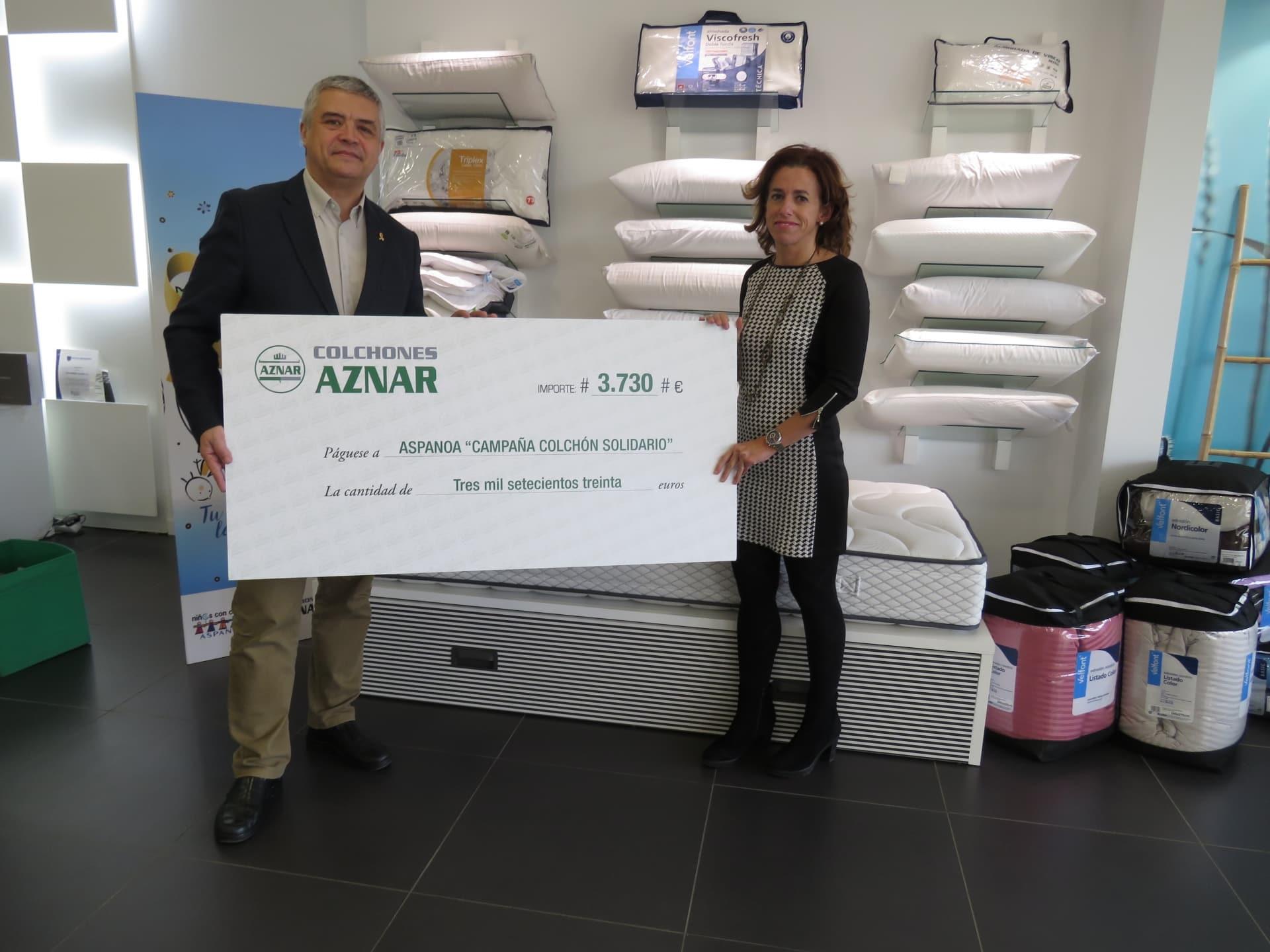 Colchones Aznar y Aspanoa colaboran por una buena causa.